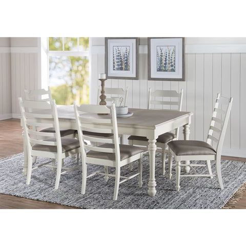 Powell Slater 5 Piece Dining Set in Whitewash & White