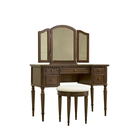 Powell Warm Cherry Vanity w/ Mirror & Bench