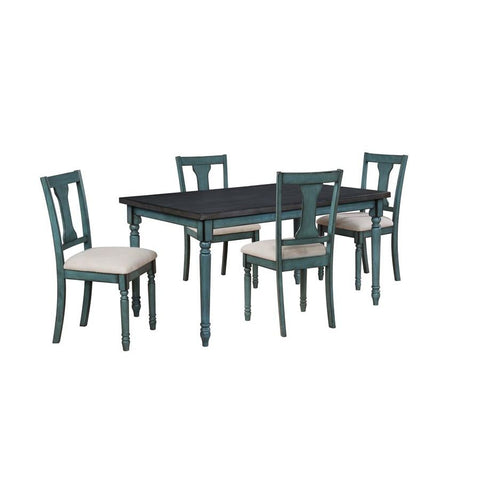 Powell Willow 5 Piece Dining Set in Teal Blue
