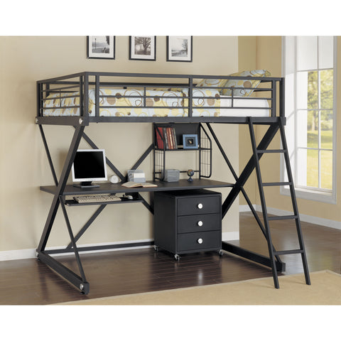 Powell Z-Bedroom Full Size Study Loft Bunk Bed In Textured Black With Silver Trim and Pulls