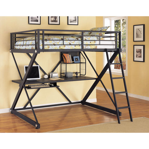 Powell Z-Bedroom Full Size Study Loft Bunk Bed in Brushed Chrome
