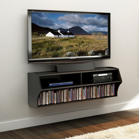 Prepac BCAW-0200-1 Black Altus Wall Mounted Audio/Video Console