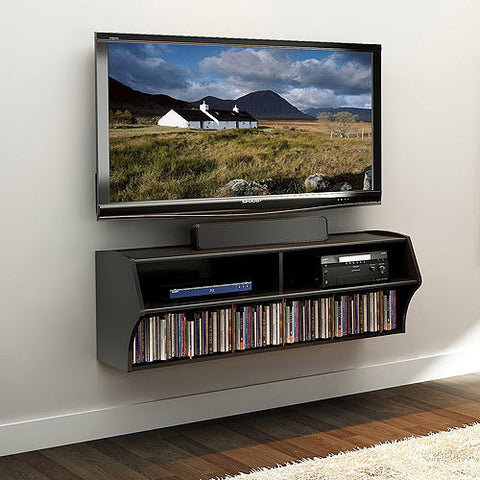 Prepac Altus Plus 60 Inch Wall Mounted A/V Console in Black
