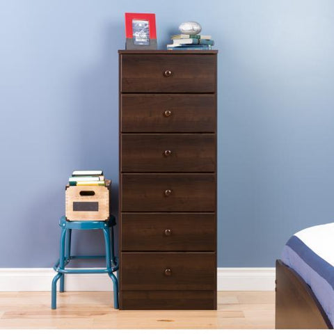 Prepac Astrid 6 Drawer Tall Chest in Espresso