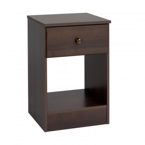 Prepac Astrid Tall 1 Drawer Nightstand in Espresso