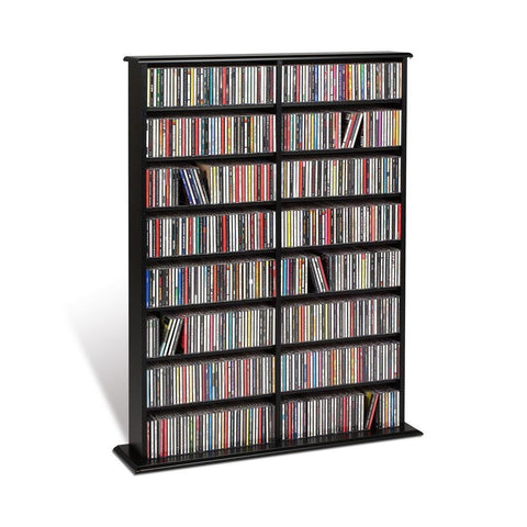 Prepac Black Double Media Tower (Holds 650 CDs)