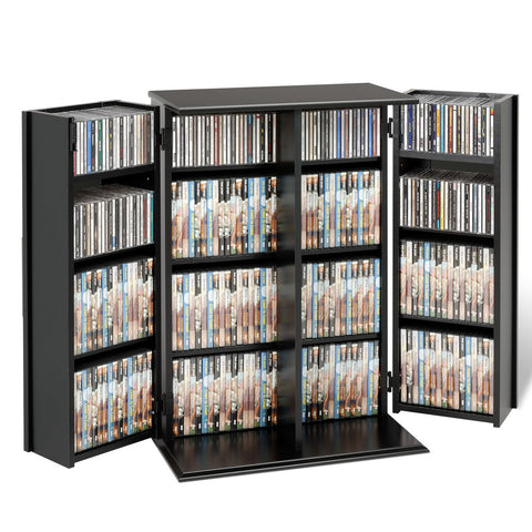 Prepac Black Small Deluxe Multimedia Storage Cabinet with Lock