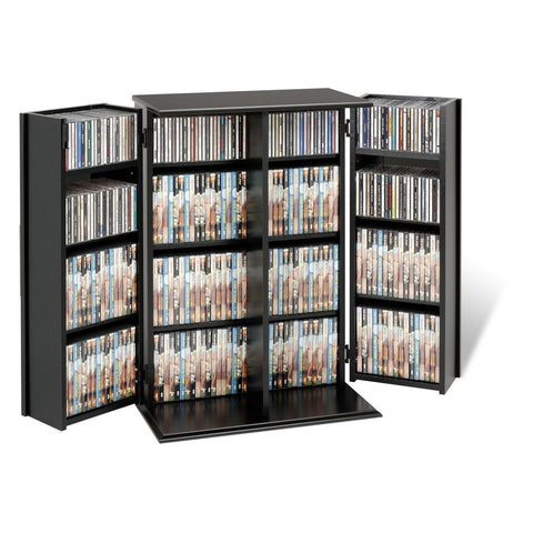 Prepac Black Small Deluxe Media Storage with Locking Shaker Doors