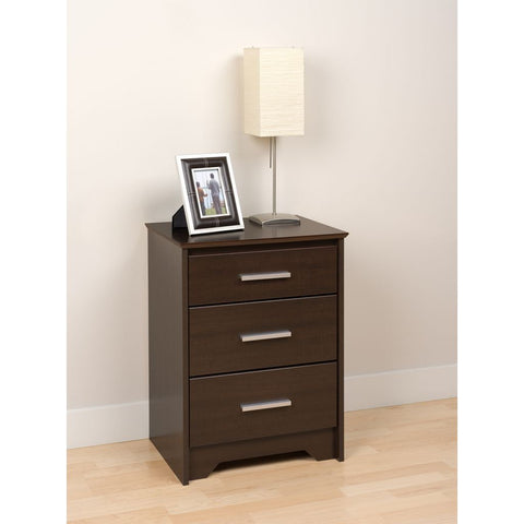 Prepac Coal Harbor Espresso 21 Inch 3-Drawer Tall Nightstand