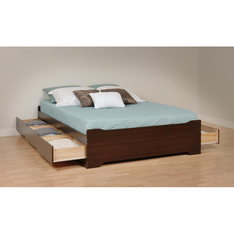 Prepac Coal Harbor Queen 6 Drawer Platform Storage Bed in Espresso