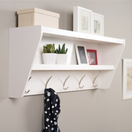 Prepac Floating Entryway Shelf and Coat Rack in White