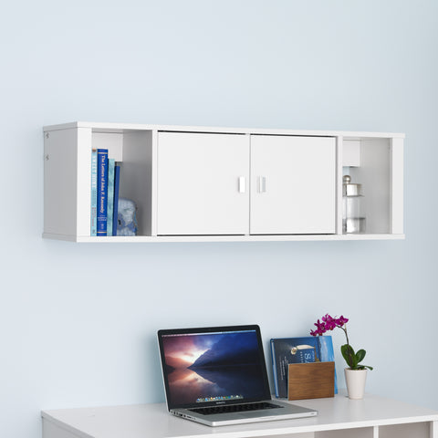 Prepac Floating Hutch in White