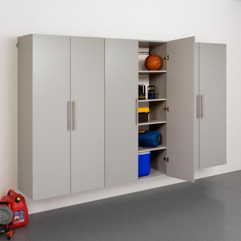 Prepac HangUps Garage 108 Inch Storage Cabinet Set E Three Piece in Gray