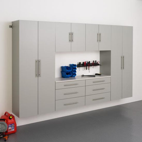 Prepac HangUps Garage 120 Inch Storage Cabinet Set I Six Piece in Gray