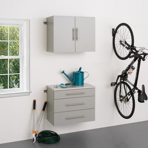 Prepac HangUps Garage 30 Inch Storage Cabinet Set A Two Piece in Gray