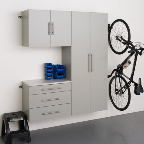 Prepac HangUps Garage 60 Inch Storage Cabinet Set B Three Piece in Gray