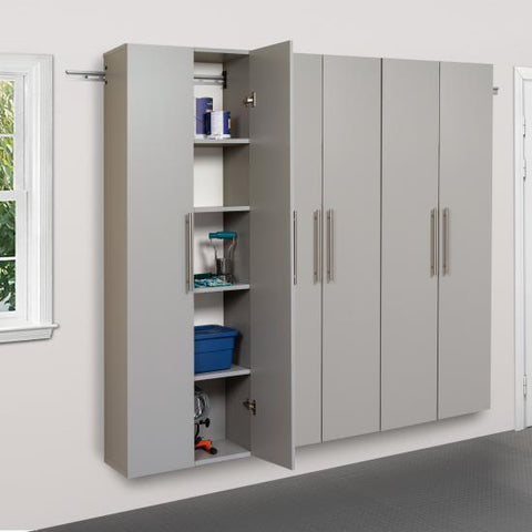 Prepac HangUps Garage 72 Inch Storage Cabinet Set C Three Piece in Gray