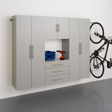 Prepac HangUps Garage 90 Inch Storage Cabinet Set G Four Piece in Gray