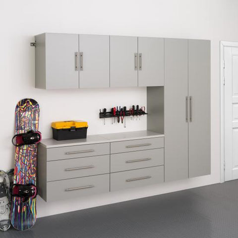Prepac HangUps Garage 90 Inch Storage Cabinet Set H Five Piece in Gray