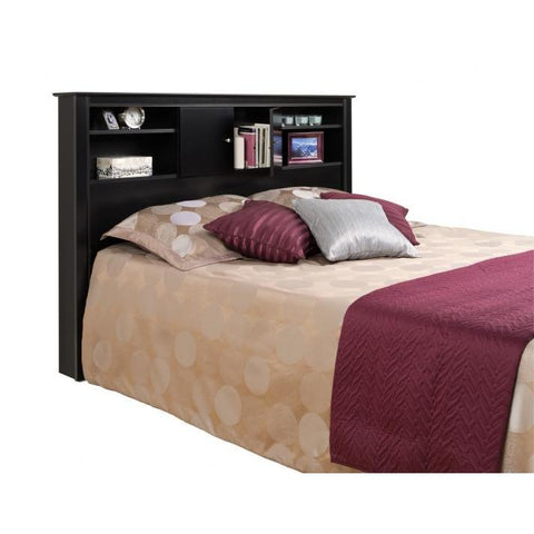 Prepac Kallisto Double/Queen Bookcase Storage Headboard in Black