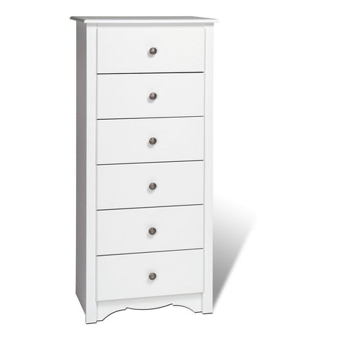 Prepac Monterey White 23 Inch 6-Drawer Lingerie Chest