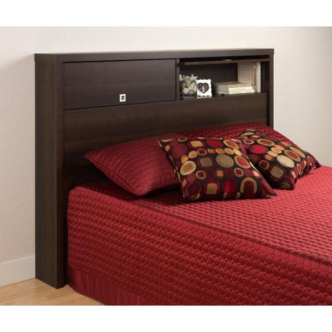 Prepac Series 9 Designer Double/Queen 2 Door Storage Headboard in Espresso