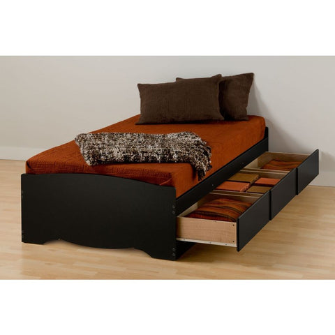 Prepac Black Twin XL Mate's Platform Storage Bed with 3 Drawers