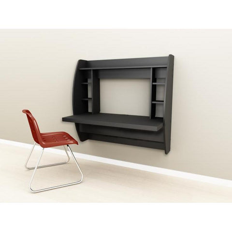 Prepac Tall Wall Hanging Desk with Storage in Black