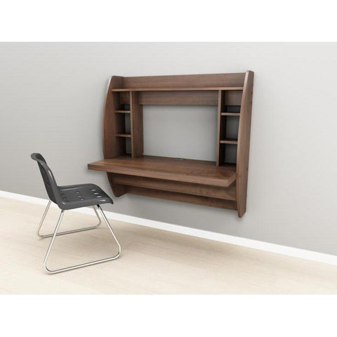 Prepac Tall Wall Hanging Desk with Storage in Espresso