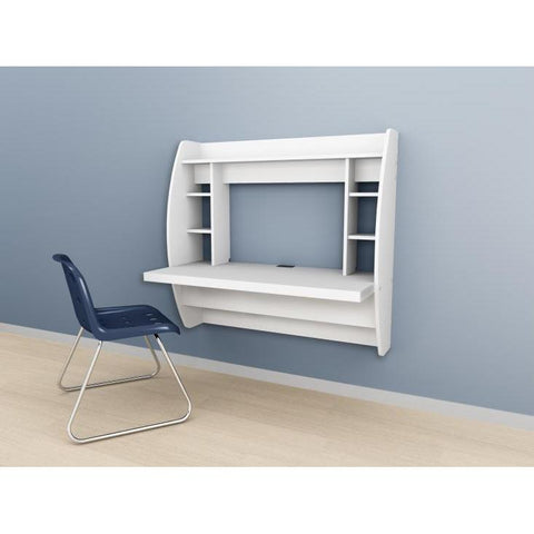 Prepac Tall Wall Hanging Desk with Storage in White