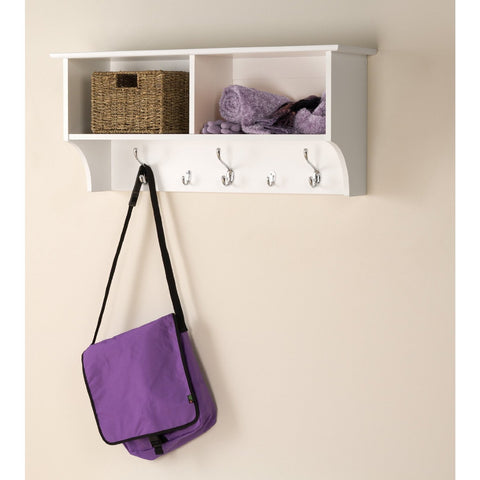 Prepac Wide Hanging Entryway Shelf in White