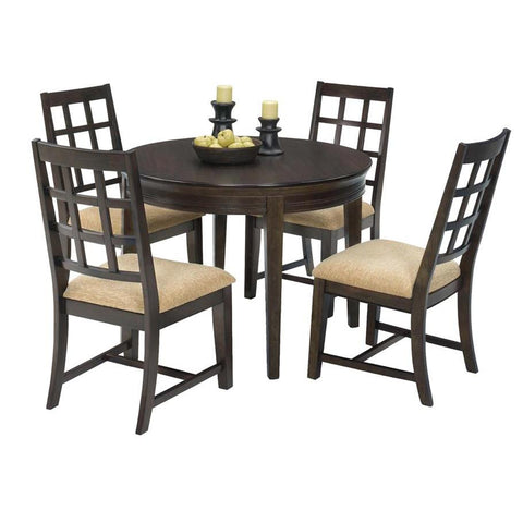 Progressive Furniture Casual Traditions 5 Piece Round Dining Room Set in Walnut