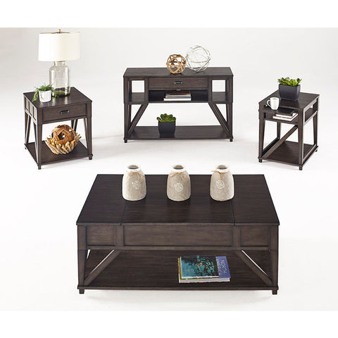 Progressive Furniture Consort 4 Piece Coffee Table Set in Midnight Oak