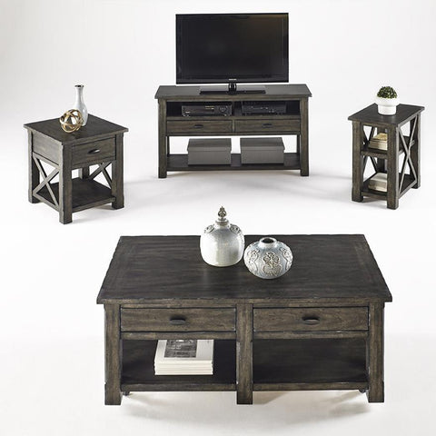 Progressive Furniture Crossroads 4 Piece Coffee Table Set in Smokey Grey