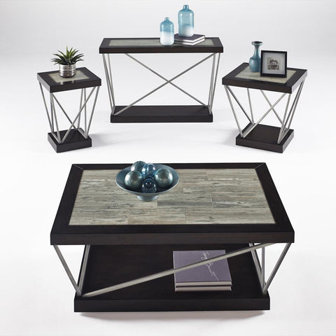 Progressive Furniture East Bay 4 Piece Coffee Table Set in Woodtone Tile