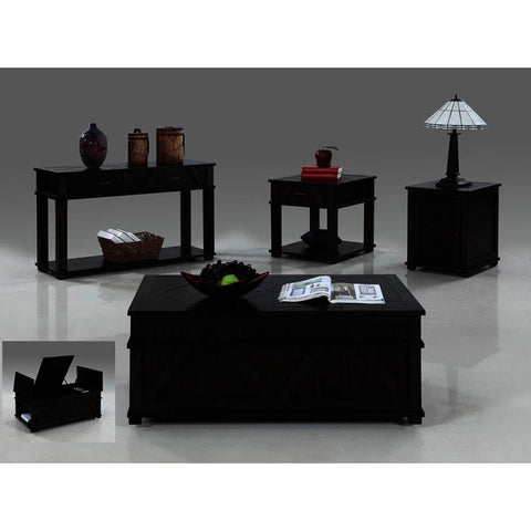 Progressive Furniture Foxcroft 4 Piece Storage Coffee Table Set in Dark Pine