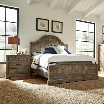 Progressive Furniture Meadow 2 Piece Panel Bedroom Set in Weathered Gray