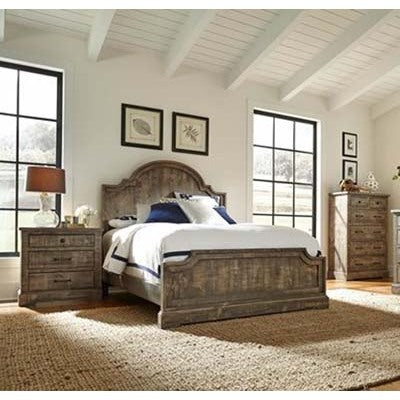 Progressive Furniture Meadow 3 Piece Panel Bedroom Set in Weathered Gray