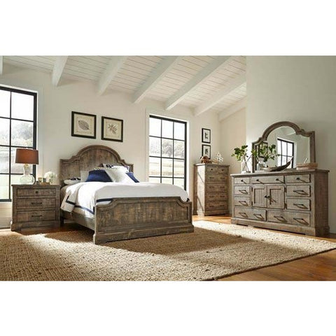 Progressive Furniture Meadow 4 Piece Panel Bedroom Set in Weathered Gray