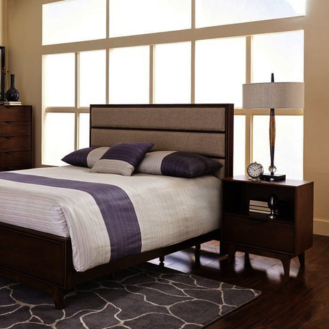 Progressive Furniture Mid-Mod 2 Piece Upholstered Panel Bedroom Set in Cinnamon