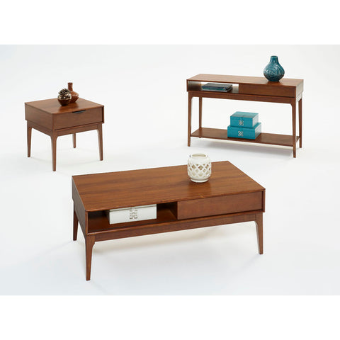 Progressive Furniture Mid-Mod 3 Piece Coffee Table Set in Cinnamon