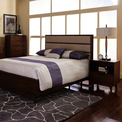 Progressive Furniture Mid-Mod 3 Piece Upholstered Panel Bedroom Set in Cinnamon