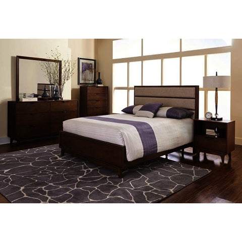Progressive Furniture Mid-Mod 4 Piece Upholstered Panel Bedroom Set in Cinnamon