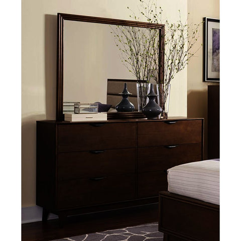 Progressive Furniture Mid-Mod Drawer Dresser w/Mirror in Cinnamon
