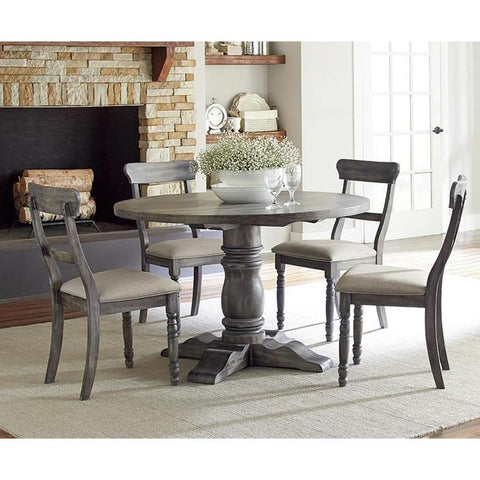 Progressive Furniture Muses 5 Piece Round Dining Room Set w/Ladderback Chairs in Dove Grey
