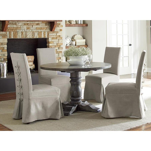 Progressive Furniture Muses 5 Piece Round Dining Room Set w/Parsons Chairs in Dove Grey