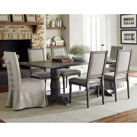 Progressive Furniture Muses 7 Piece Rectangular Dining Room Set w/Parsons Chairs in Dove Grey