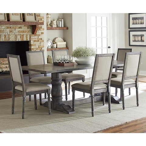 Progressive Furniture Muses 7 Piece Rectangular Dining Room Set w/Upholstered Back Chairs in Dove Grey
