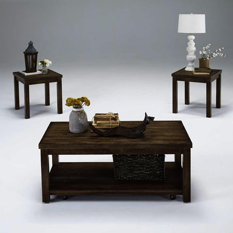 Progressive Furniture Silverton 3 Piece Coffee Table Set in Driftwood