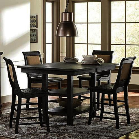 Progressive Furniture Willow 5 Piece Rectangular Counter Table Set w/Upholstered Chairs
